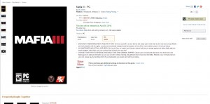 Mafia 3 Releasetermin laut Amazon