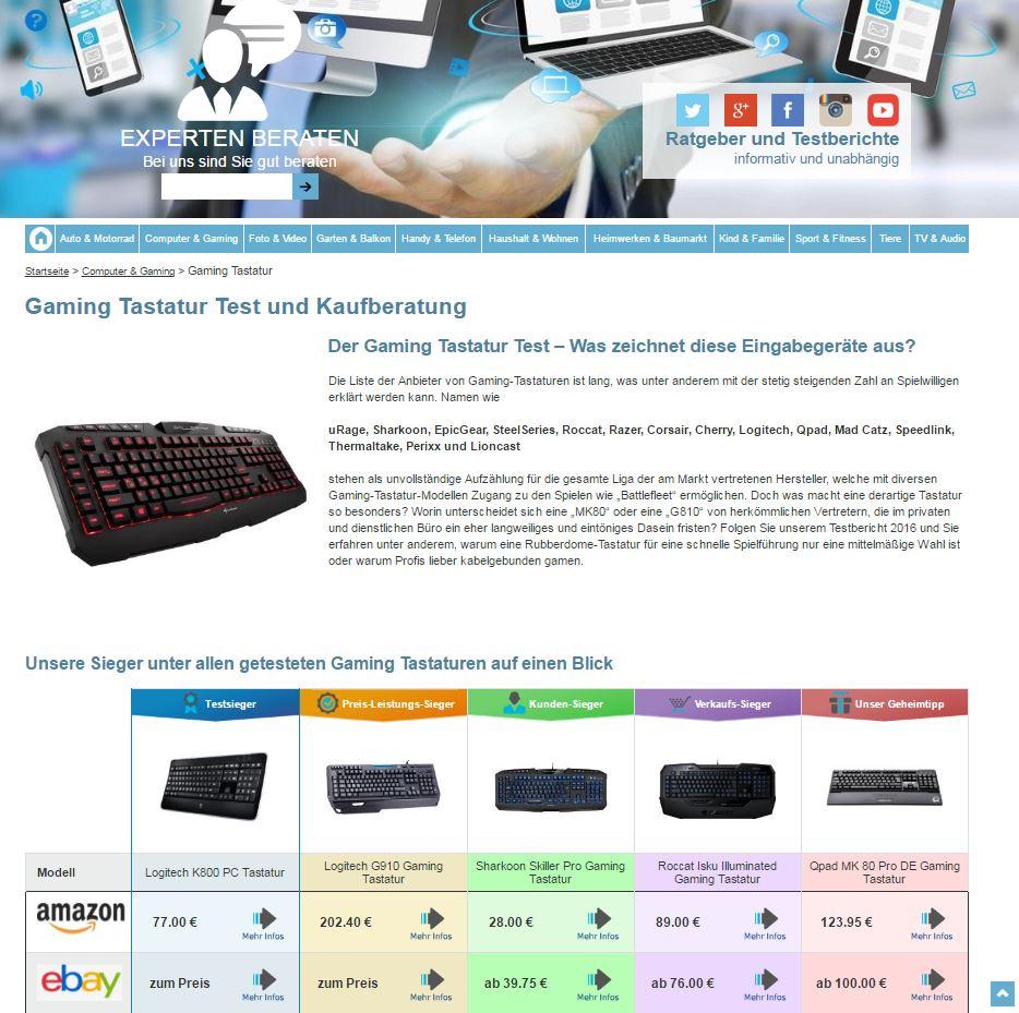 Tastatur Test auf Experten-beraten.de